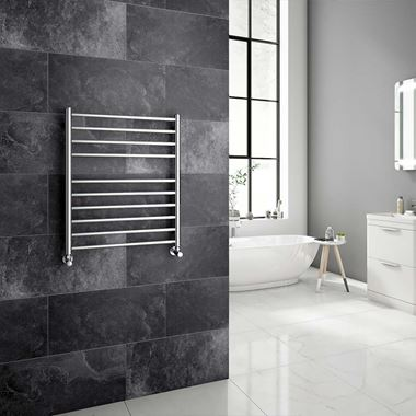 Brenton Vesta Polished Stainless Steel Round Heated Towel Rail Radiator - 720 x 600mm