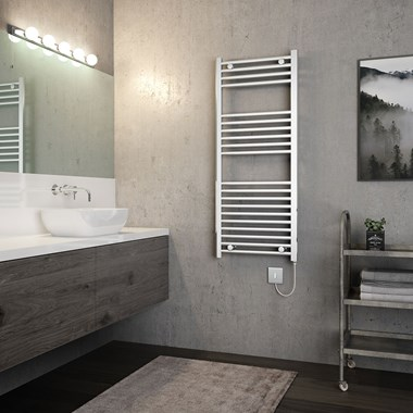Brenton Apollo Electric Straight Chrome Heated Towel Rail - 22mm - 1200 x 500mm