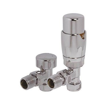 Brenton Thermostatic Angled Radiator Valves - Chrome