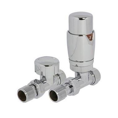 Brenton Thermostatic Straight Radiator Valves - Chrome
