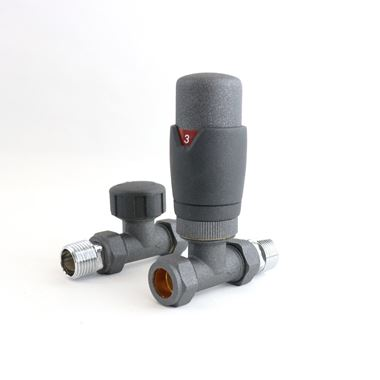 Brenton Thermostatic Straight Radiator Valves - Anthracite