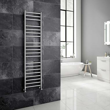 Brenton Vesta Polished Stainless Steel Round Heated Towel Rail Radiator - 1500 x 350mm