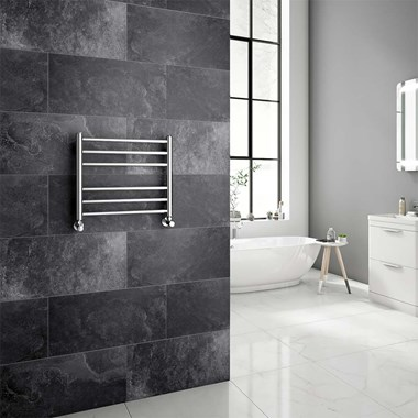Brenton Vesta Polished Stainless Steel Round Heated Towel Rail Radiator - 430 x 500mm