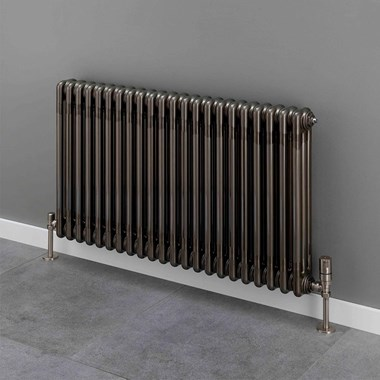 Butler & Rose 3 Column Horizontal Radiator - Bare Metal Lacquer Finish - 500mm