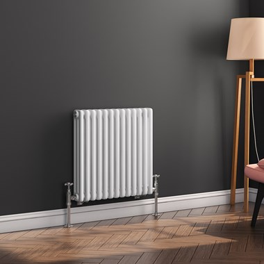 Butler & Rose Horizontal Designer 3 Column White Radiator - 600 x 605mm