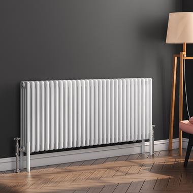 Butler & Rose Horizontal Designer 4 Column White Radiator - 600 x 1370mm