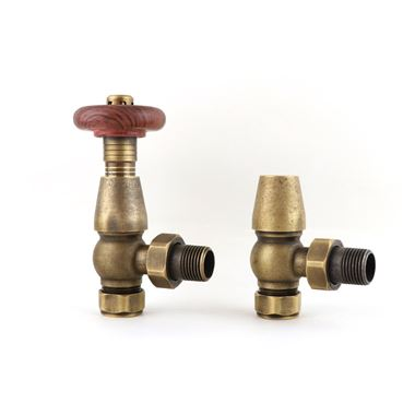 Butler & Rose Chelsea Ornate Thermostatic Angled Radiator Valves - Antique Brass