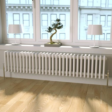 Butler & Rose Horizontal Designer Column White Radiator - 300 x 1370mm