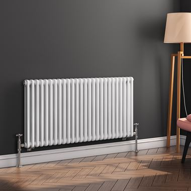 Butler & Rose Horizontal Designer Column White Radiator - 600 x 1190mm