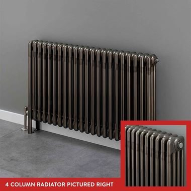 Butler & Rose 4 Column Horizontal Radiator - Bare Metal Lacquer Finish - 600mm