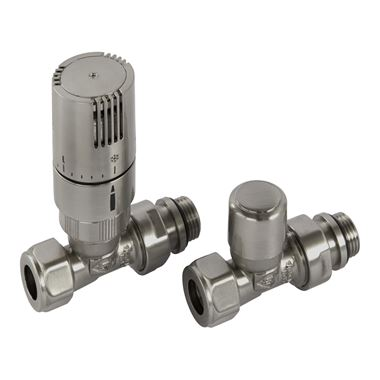 Butler & Rose Straight Thermostatic Radiator Valves - Nickel