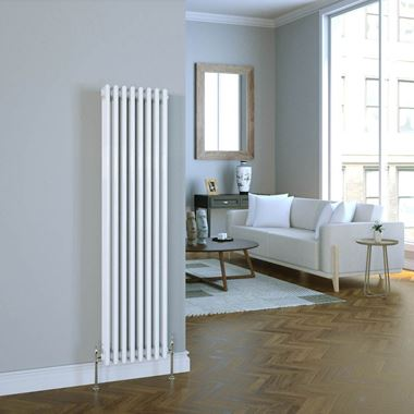 Butler & Rose Vertical Designer Column White Radiator - 1500 x 380mm