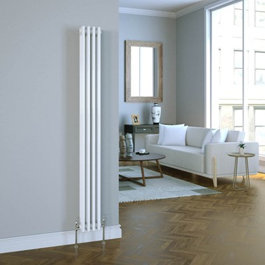 Butler & Rose Vertical Designer Column White Radiator - 1800 x 200mm
