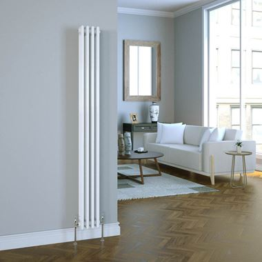 Butler & Rose Vertical Designer 3 Column Style White Radiator - 1800 x 200mm