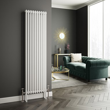 Butler & Rose Vertical Designer 2 Column Style White Radiator - 1800 x 470mm