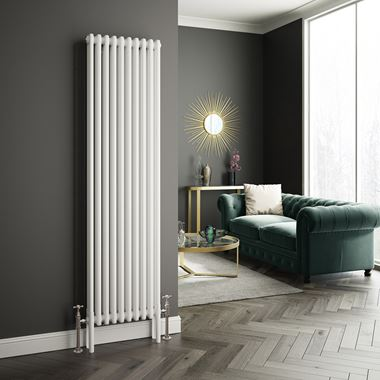 Butler & Rose Vertical Designer 2 Column Style White Radiator - 1800 x 465mm