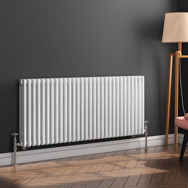 Butler & Rose Horizontal Designer Column White Radiator - 500 x 1370mm