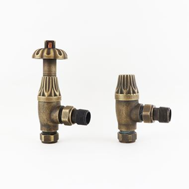 Butler & Rose Westminster Ornate Thermostatic Angled Radiator Valves - Antique Brass