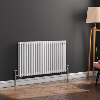 Butler & Rose Horizontal Designer 2 Column Style White Radiator - 600 x 1010mm