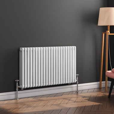 Butler & Rose Horizontal Designer 3 Column White Radiator - 500 x 1010mm