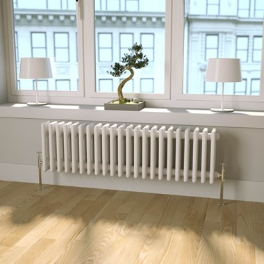 Butler & Rose Horizontal Designer Column White Radiator - 300 x 1010mm
