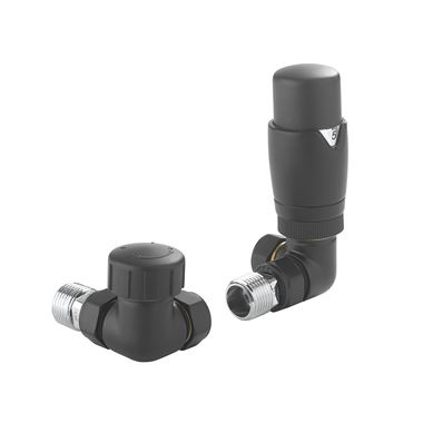 Crosswater Corner Thermostatic Radiator Valve - Matt Black