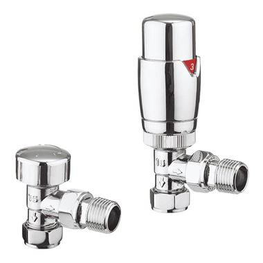 Crosswater Pier Thermostatic Angled Radiator Valves