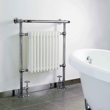 DQ Heating Croxton Floor Mounted Luxury Traditional Heated Towel Rail