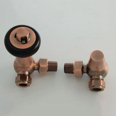 DQ Heating Enzo Corner Luxury Manual Radiator Valve - Antique Copper