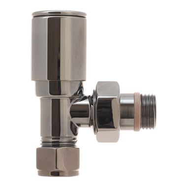 DQ Heating Contemporary Luxury Manual Radiator Valve - Angled - Chrome