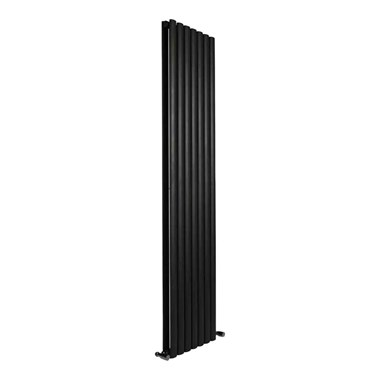 DQ Heating Cove Double Panel Mild Steel Vertical Designer Radiator - Anthracite - 1500 x 413mm