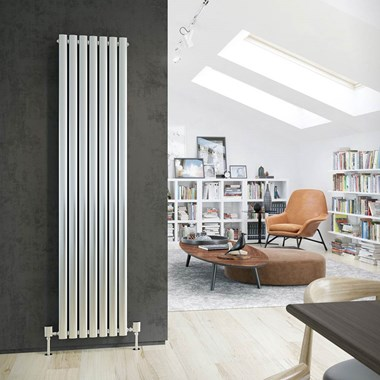 DQ Heating Cove Single Panel Stainless Steel Vertical Designer Radiator