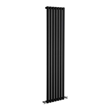 DQ Heating Cove Single Panel Mild Steel Vertical Designer Radiator - Black - 1800 x 295mm