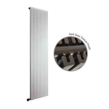 DQ Heating Cube Double Panel Mild Steel Vertical Designer Radiator - Dark Grey