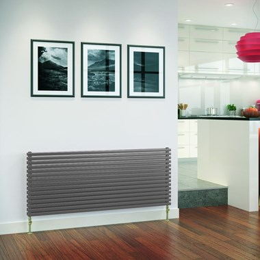 DQ Heating Cube Double Panel Mild Steel Horizontal Designer Radiator - Dark Grey