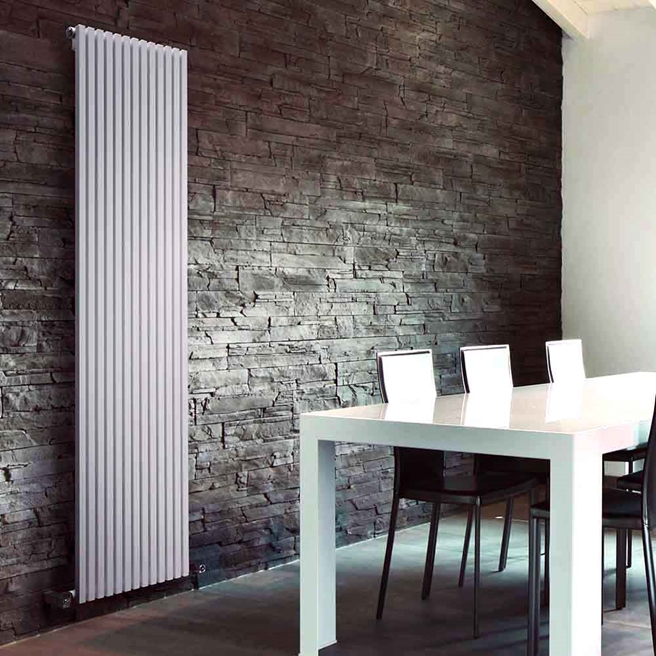 DQ Heating Cube Single Panel Mild Steel Vertical Designer Radiator - White