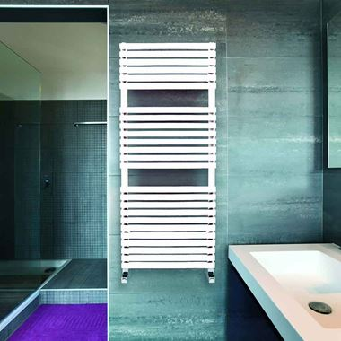 DQ Heating Cube T Vertical Designer Heated Towel Rail - White