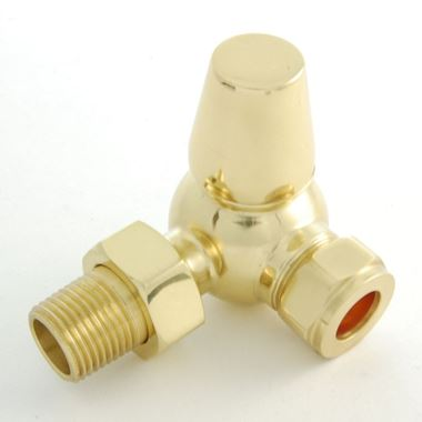 DQ Heating Enzo Corner Luxury Manual Radiator Valve - Brass