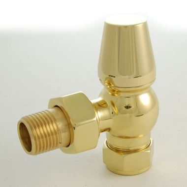 DQ Heating Enzo Luxury Angled Manual Radiator Valve - Brass