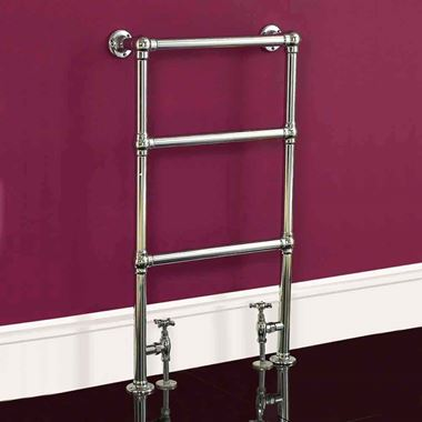 DQ Heating Ickburgh Floor Mounted Luxury Traditional Heated Towel Rail - Antique Brass - 952 x 475mm