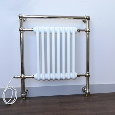 DQ Heating Lynford Wall Mounted Luxury Traditional Heated Towel Rail - Polished Nickel - 789 x 685mm