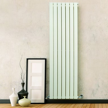 DQ Heating Tornado Single Panel Mild Steel Vertical Designer Radiator - White