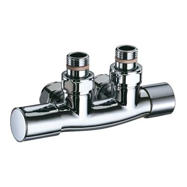 DQ Heating Twin Star Luxury Manual Radiator Valve - Angled - Satin Chrome