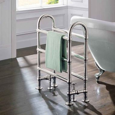 DQ Heating Hilborough Floor Mounted Luxury Traditional Heated Towel Rail - Polished Chrome - 1028 x 837mm