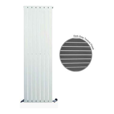 DQ Heating Tornado Single Panel Mild Steel Vertical Designer Radiator - Dark Grey
