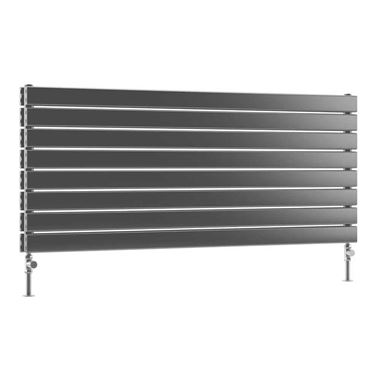 DQ Heating Tornado Double Panel Mild Steel Horizontal Designer Radiator - Dark Grey