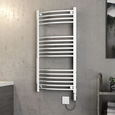 Brenton Apollo Electric Curved Chrome Heated Towel Rail - 22mm - 1000 x 500mm