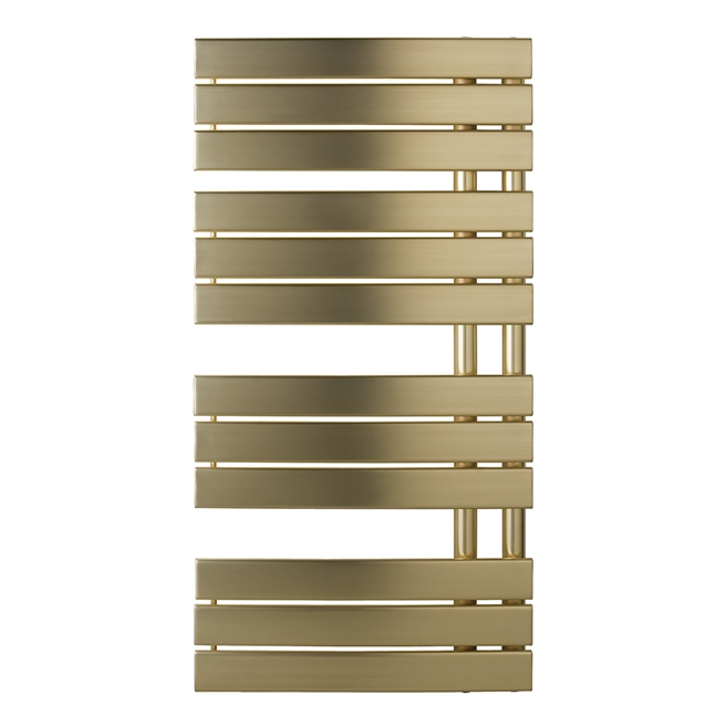 EliteHeat Stainless Steel Open-Side Heated Towel Rail - Brushed Brass