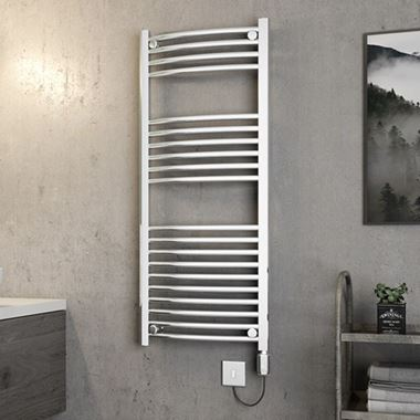 Brenton Apollo Electric Curved Chrome Heated Towel Rail - 22mm - 1200 x 500mm
