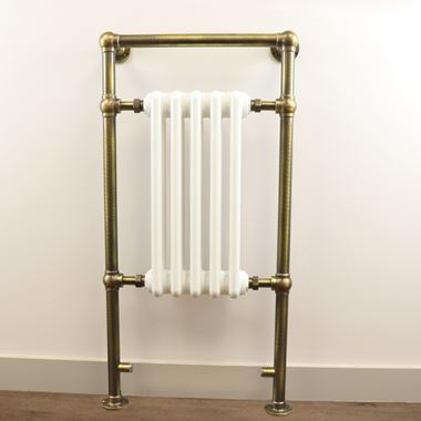 DQ Heating Lynford Floor Mounted Luxury Traditional Heated Towel Rail - Antique Brass - 952 x 500mm